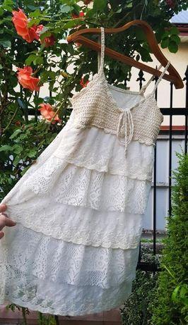 Кружевное гипюр платье кружево сарафан туника беж молочное вязаный