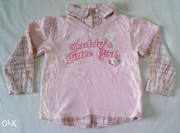 Реглан розовый с вставками в клеточку бело-розовую BABY CLUB, р. 92