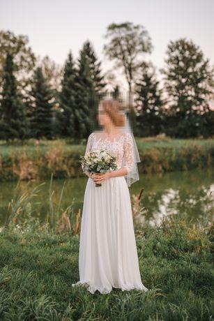 Suknia ślubna boho, rustykalna 38