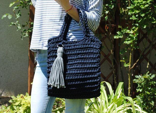 Elegancka torba torebka kuferek damska ze sznurka hand made!