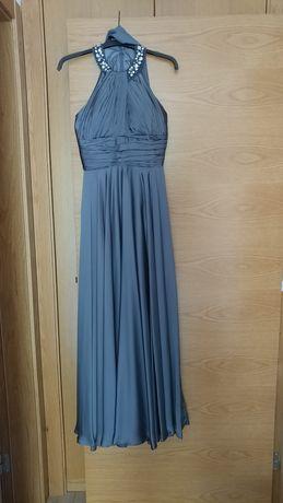 Vestido comprido cinza