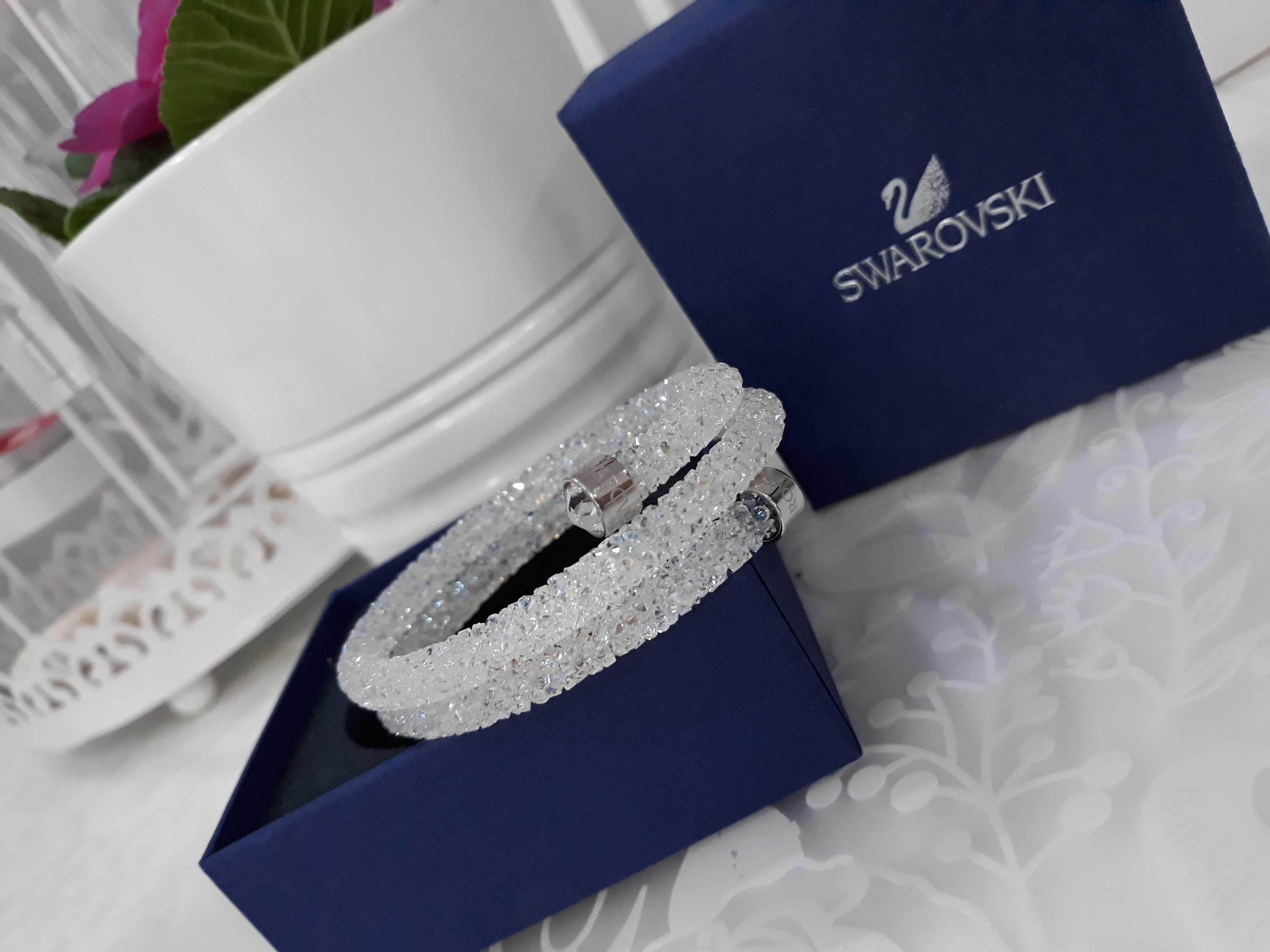 Bransoletka Swarovski crystaldust double bangle white i