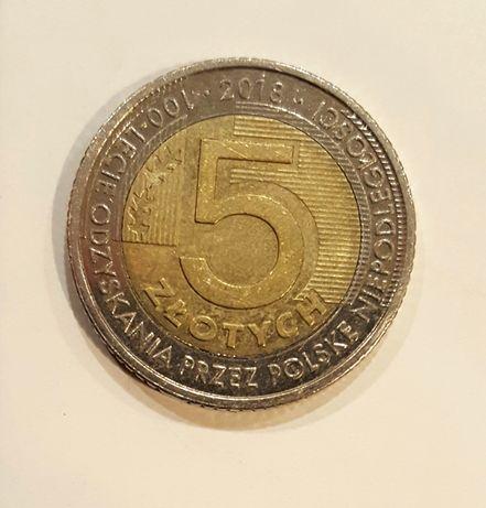 Moneta destrukt 5zł 100-lecie odzyskania niepodległości