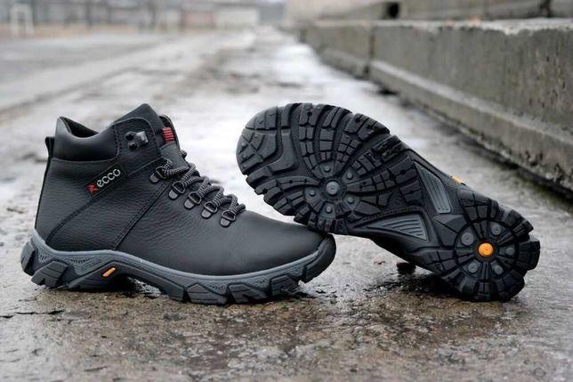 Зимние мужские кожаные ботинки (кроссовки) ECCO