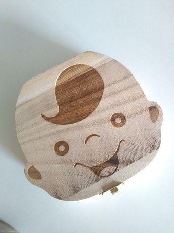 pudełko zęby mleczne dziecko box drewniane prezent szkatułka opakowani