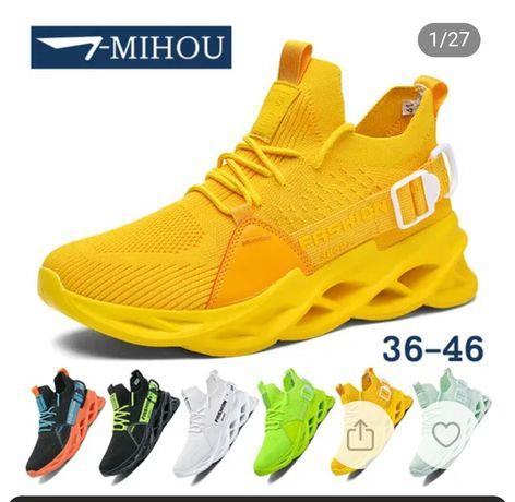 Buty sportowe nowe żółte na falowanej koturnie