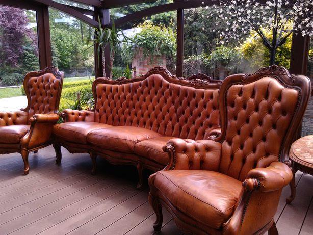 Sofa +2 Fotele Ludwik/Barok Rzeźbiona Antyk Skóra.