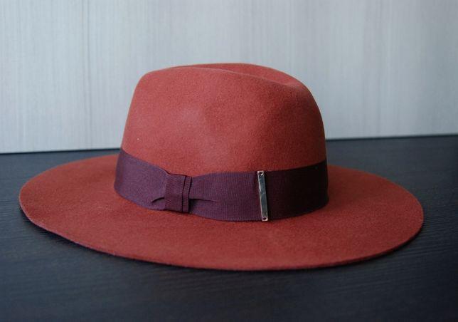 Шляпа федора терракотового цвета 100% шерсть