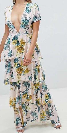 szyfonowa falbaniasta sukienka