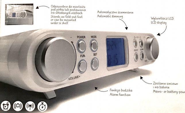 Radio z budzikiem, podwieszane, białe, nowe