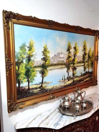 Enorme quadro com pintura a óleo J. Sobral 160x100