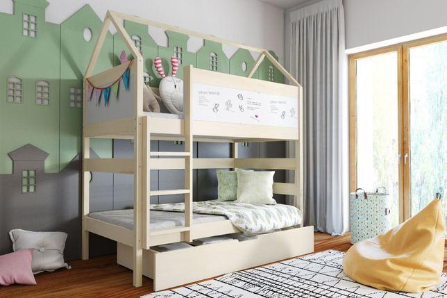 Drewniane łóżko DOMEK z szufladą i stelażem w cenie!