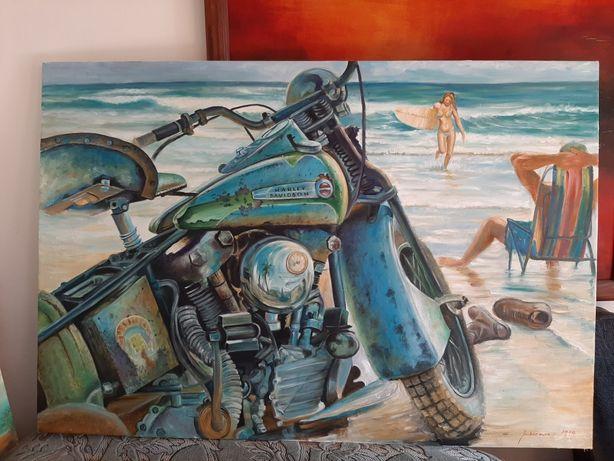 Harley davidson obraz olejny duży