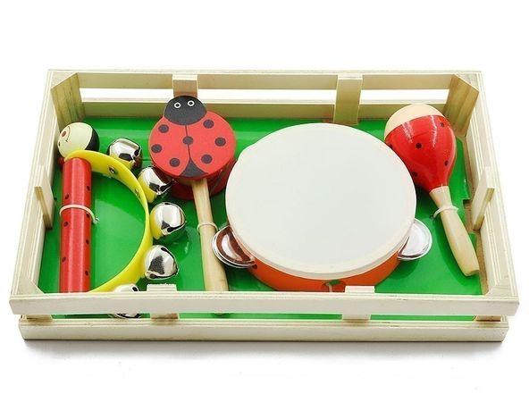 Набор детских музыкальных инструментов бубен, маракас, дамару, бубенцы