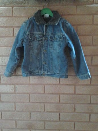 джинсовый пиджак с подкладкой из исскус-го меха для мальчика 5-7 лет