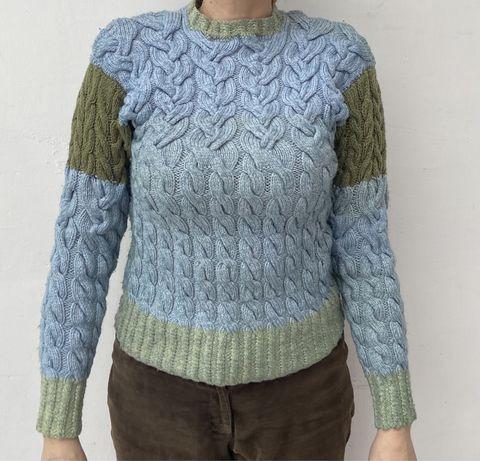 Шерстяной женский зеленый свитер ручной работы, натуральная шерсть