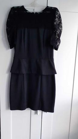 Czarna sukienka z baskijką Pretty Girl rozm, S
