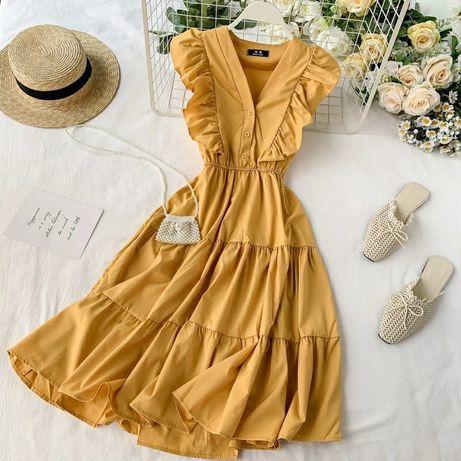 Żółta sukienka, falbany, MIDI, rozmiar uniwersalny. Nowa