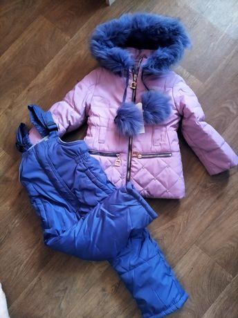 Детский зимний комбинезон,полукомбез (курточка+штаны), натуральный мех