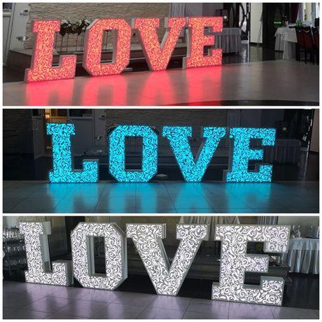 Ażurowy napis LOVE 3D RGB 120cm. Nowoczesny duży i śliczny napis