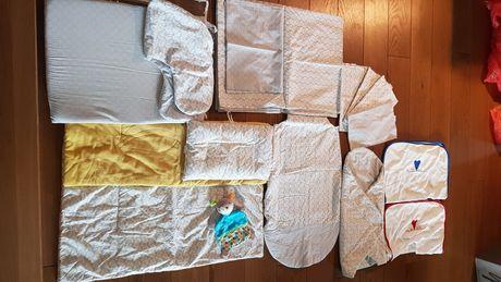 zestaw motherhood do łóżeczka,szaro musztardowe ptaszki,minky 18szt