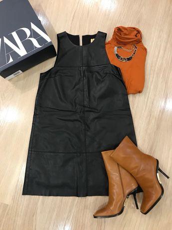 Платье кожа) платье zara,HM)сарафан эко кожа) сарафан H&M