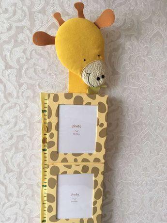 Фоторамка ростомер Жираф в детскую для фото 10х15