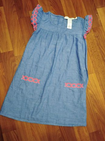 Натуральное летнее платье на девочку от H&M 122р. 6-7 лет.