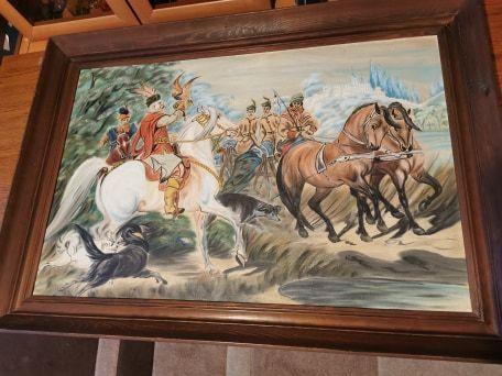 Obraz polowanie z sokołem 104 x 74 cm