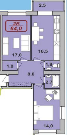 Двокімнатна квартира в Центрі міста, 60м.кв..Галицька-Пулюя