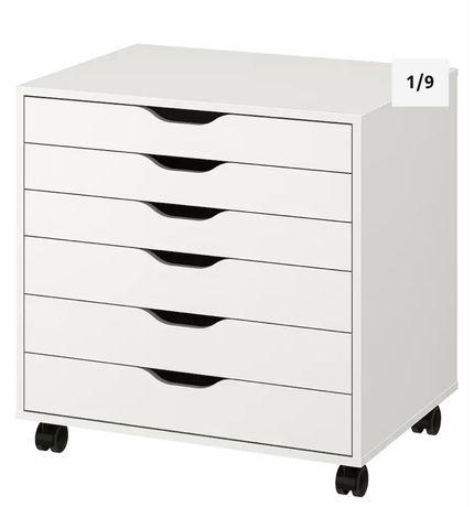 Biała komoda na kółkach ALEX IKEA
