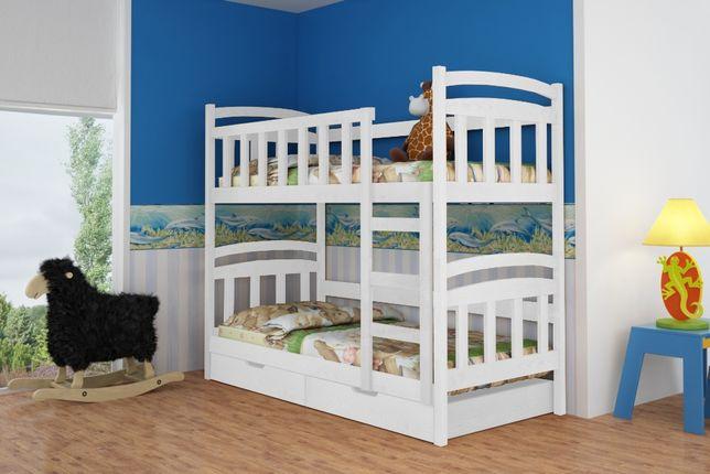 Drewniane łóżko dwuosobowe Krystian z szufladami, materace gratis