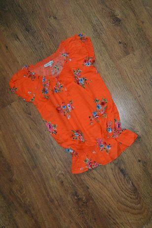 Интересная блузка блуза clockhouse 158-164р. короткий рукав цветочный