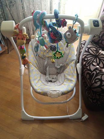 Дитячий шезлонг-качеля, крісло-гойдалка, колиска 2 в 1