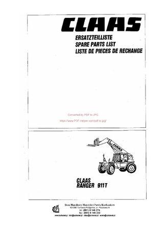 Katalog części Ładowacz claas ranger 911 T