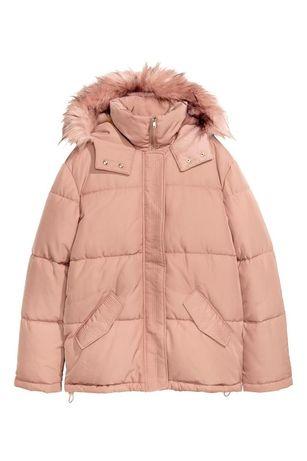 Теплая розовая пудровая куртка h&m