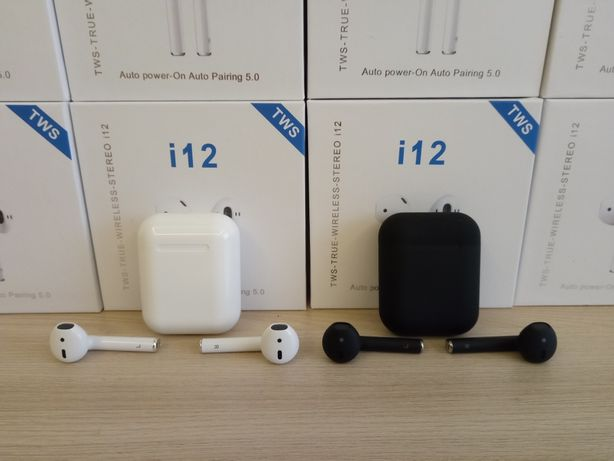 Наушники AirPods i12 TWS белые и чёрные