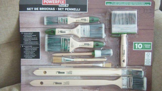 Conjunto 10 pincéis para pintura de madeira