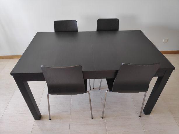 Mesa refeição ikea preto castanho bjursta
