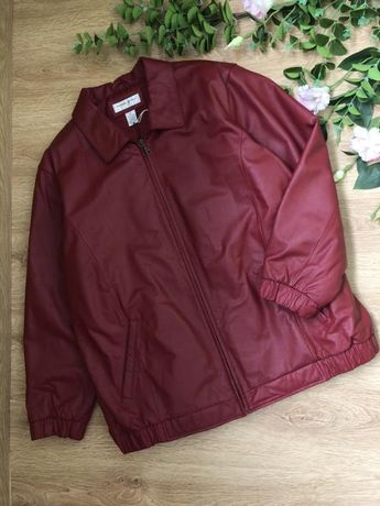 Стильная кожанная куртка- бомбер Preston&York xxl--4xl