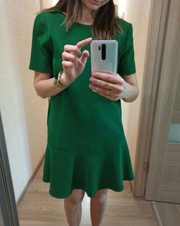 Платье mango, изумрудный цвет, зелёный, яркое