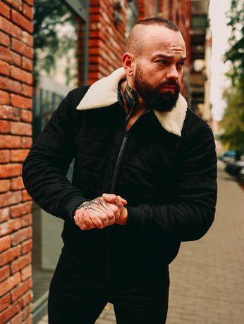 Мужская ДЕМИСЕЗОННАЯ Стеганная замшевая куртка с мехом 2 цвета
