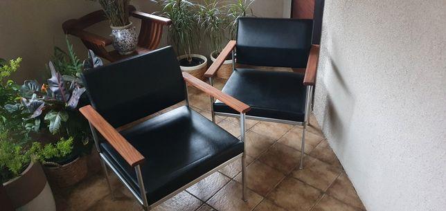Fotele Lübke lata 60 te skóra Vintage Loft Design