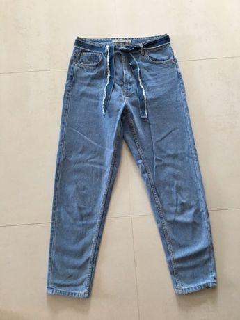 Spodnie boyfriend zara jeansy pasek