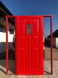 Drzwi zewnetrzne 188x238 czerwone OD RĘKI angielskie