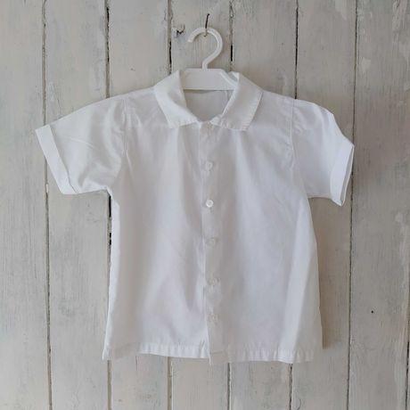 Biała koszula krótkie rękawy 98 chłopięca święta