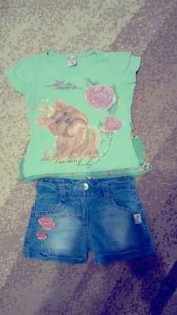 Продам костюм для девочки (джинсовые шорты и футболка)