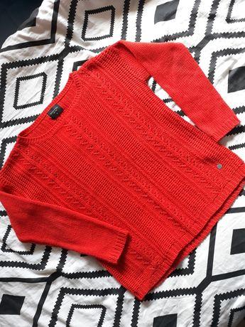 Kolarowy czerwony sweter w soboty h&m rozmiar S