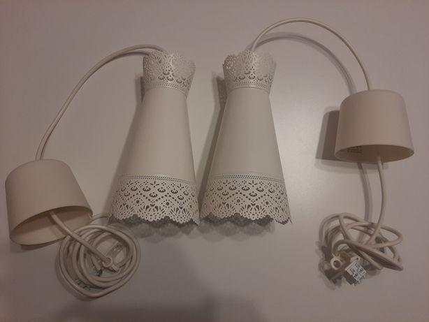 Ażurowa lampa ikea MOLNDAL, biała (zestaw 2 sztuki)