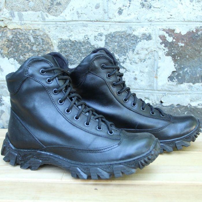 Зимние ботинки тактические из натуральной кожи и меха черного цвета Харьков - изображение 1